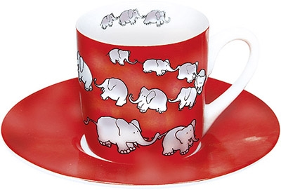 Chain of elephants - red - espresso