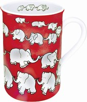 Chain of elephants - red - mug
