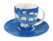 Chain of elephants - blue - c.m.mug