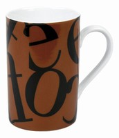 Script black on brown - mug